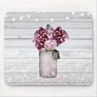 Tapis De Souris Bois de charme et fleurs rustiques de pot de maçon