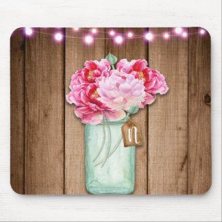 Tapis De Souris Bois rustique rose de fleurs de lumières de