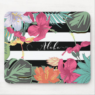 Tapis De Souris Botanique chic de feuille floral tropical de