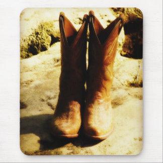 Tapis De Souris Bottes de cowboy occidentales de pays rustique au