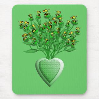 Tapis De Souris Bouquet de tracteur avec le vase vert à coeur