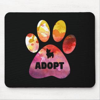 Tapis De Souris Cadeaux d'amoureux des chiens. Adoptez. Patte de
