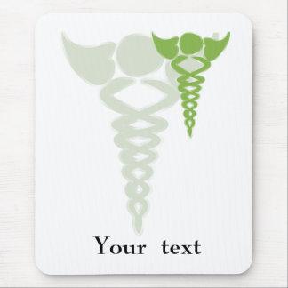 Tapis De Souris cadeaux médicaux de caducée vert