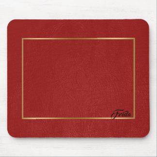 Tapis De Souris Cadre rouge de frontière d'or de cuir de Faux