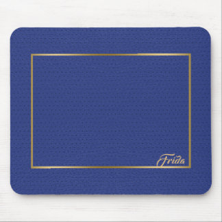 Tapis De Souris Cadre vintage bleu de frontière d'or de cuir de
