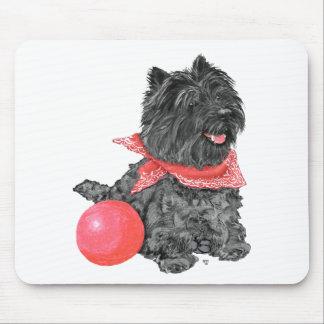 Tapis De Souris Cairn Terrier noir avec la boule