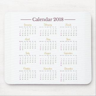Tapis De Souris Calendrier élégant Mousepad du minimaliste 2018