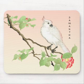 Tapis De Souris Camélia japonais vintage Mousepad de cacatoès