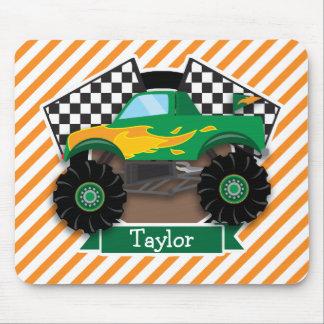 Tapis De Souris Camion de monstre vert, drapeau Checkered ; Rayure