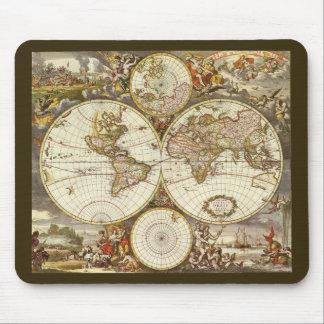 Tapis De Souris Carte antique du monde, C. 1680. Par Frederick de