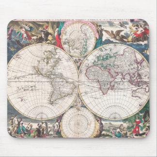 Tapis De Souris Carte antique du monde de Double-Hémisphère