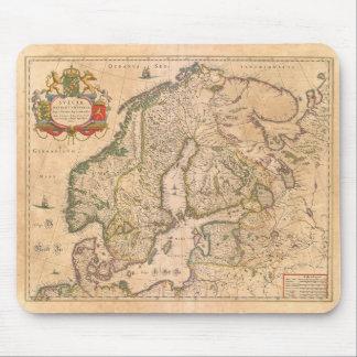 Tapis De Souris Carte antique vintage de la vieille Scandinavie