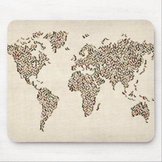 Tapis De Souris Carte de chaussures de dames de la carte du monde