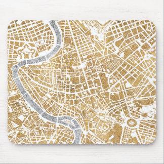 Tapis De Souris Carte dorée de ville de Rome