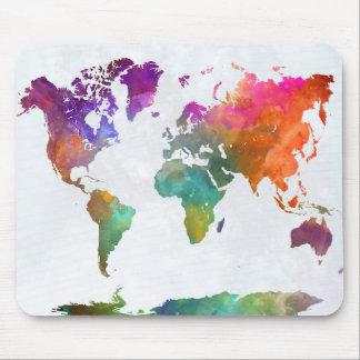 Tapis De Souris Carte du monde dans l'aquarelle
