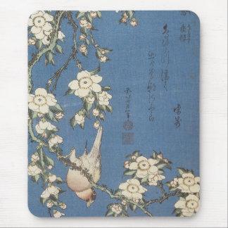 Tapis De Souris Cerise et bouvreuil pleurants, Hokusai, Mousep