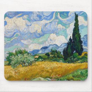 Tapis De Souris Champ de blé de Van Gogh avec des cyprès