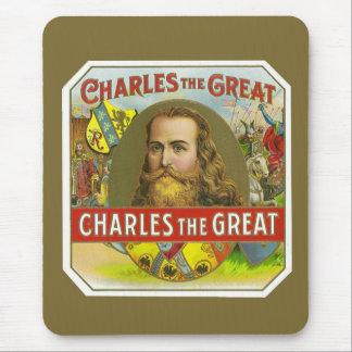 Tapis De Souris Charles le grand - étiquette vintage de cigare