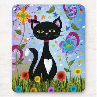 Tapis De Souris Chat dans un art abstrait de jardin
