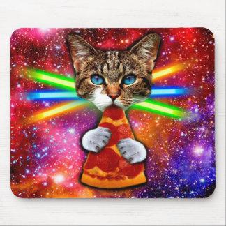 Tapis De Souris Chat de pizza - chat de l'espace - chats mignons -