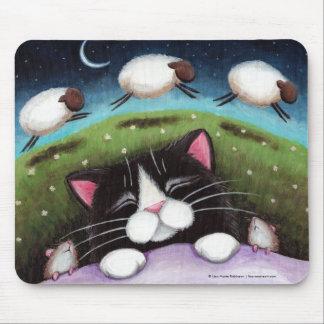 Tapis De Souris Chat et souris de sommeil rêvant des moutons