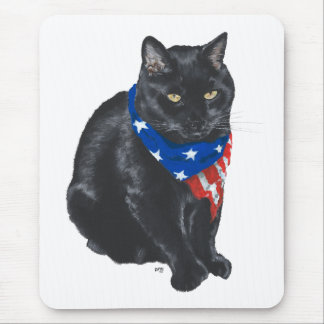 Tapis De Souris Chat noir patriotique