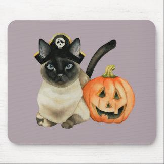 Tapis De Souris Chat siamois de Halloween avec la lanterne de Jack