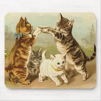 Tapis De Souris Chats jouant l'illustration vintage