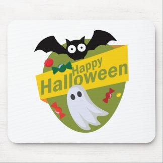 Tapis De Souris Chauves-souris et fantômes heureux de Halloween