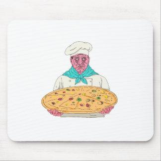 Tapis De Souris Chef de zombi tenant l'art de crasse de tarte de