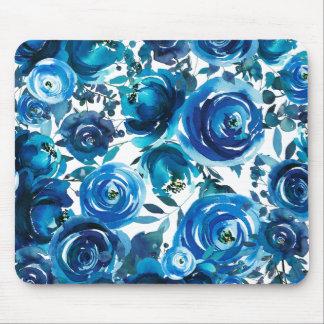 Tapis De Souris Chic minable élégant de fleurs florales bleues