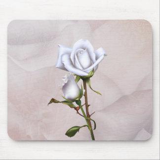Tapis De Souris Chic minable élégant doux de roses blancs