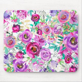 Tapis De Souris Chic minable floral moderne lumineux rose pourpre
