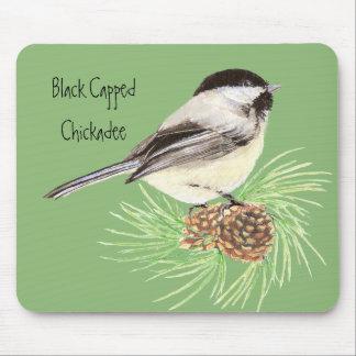 Tapis De Souris Chickadee couvert par noir - oiseau - nature