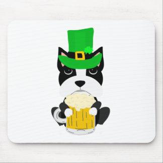 Tapis De Souris Chien de Boston Terrier du jour de St Patrick