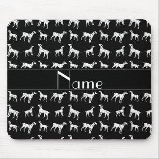 Tapis De Souris Chiens dalmatiens noirs nommés personnalisés