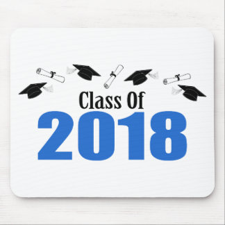 Tapis De Souris Classe de 2018 casquettes et diplômes (bleus)
