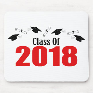 Tapis De Souris Classe de 2018 casquettes et diplômes (rouges)