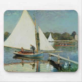 Tapis De Souris Claude Monet   naviguant à Argenteuil, c.1874