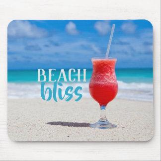 Tapis De Souris Cocktail tropical de bonheur de plage sablonneuse