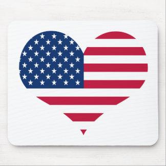 Tapis De Souris Coeur américain des Etats-Unis de drapeau de