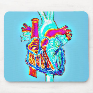 Tapis De Souris Coeur anatomique tiré par la main au néon