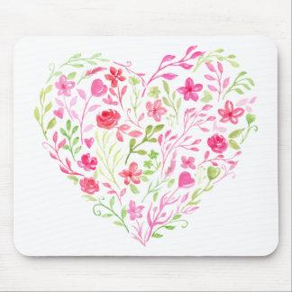 Tapis De Souris Coeur floral rose d'aquarelle