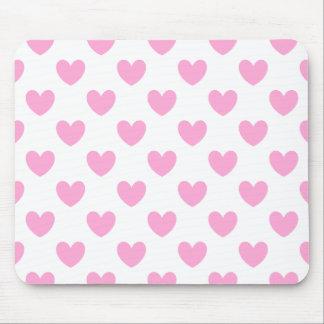 Tapis De Souris Coeurs de polka de rose de sucrerie de coton sur