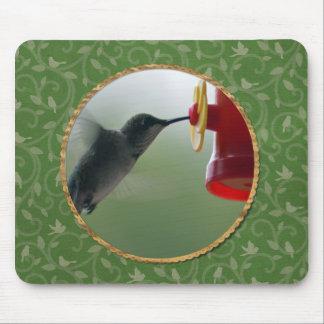 Tapis De Souris Colibri au conducteur dans le rond, oiseaux sur