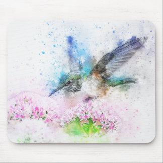 Tapis De Souris Colibri bleu abstrait d'aquarelle