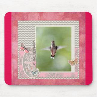 Tapis De Souris Colibri extraordinaire de vol, rose, cadre gris