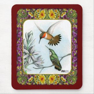 Tapis De Souris Colibris et fleurs #2