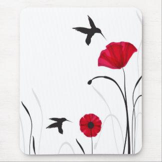 Tapis De Souris Colibris et fleurs de pavots