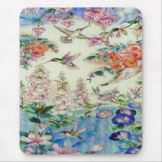Tapis De Souris Colibris et verre souillé wow de fleurs